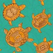 Seamless pattern with turtles — Stock Vector