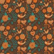 Seamless texture with flower, bird. Endless floral pattern. — Grafika wektorowa