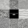 Set of eight black and white wave patterns - Stockvektor