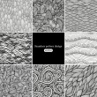 Set of eight black and white wave patterns - Grafika wektorowa