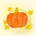Ornated pumpkin, Halloween card — Stock Vector #21985749