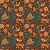 Naadloze textuur met bloem, vogel. eindeloze bloemmotief. — Stockvector