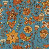Nahtlose Textur mit Blume, Vogel und Schmetterling. endlose Blümchenmuster. — Stockvektor