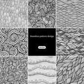 Set of eight black and white wave patterns — Stock Vector