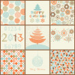 Stock Vector: Vintage Christmas set of backgrounds