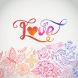 Vector watercolor floral greeting card with Love lettering. — Векторная иллюстрация