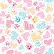 Seamless pattern with hearts, and butterflies — Stock Vector