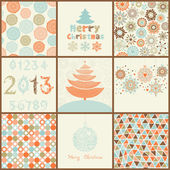 Vintage Christmas set of backgrounds — Vetor de Stock