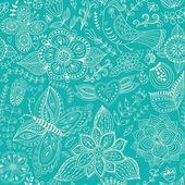 Naadloze textuur met bloem, vogel en vlinder. eindeloze bloemmotief. — Stockvector