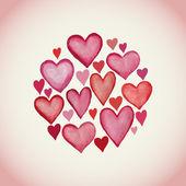 水彩心バレンタインデーの背景から成っている装飾的な円. — ストックベクタ