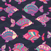 Fish pattern in abstract style — Stock Vector