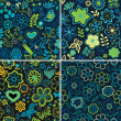 Set of colorful floral patterns — Stock Vector #22215651