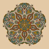 Dekorativa runda spetsmönster, cirkel bakgrund med många detaljer, ser ut som virkning handgjorda spetsar — Stockvektor