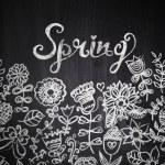 Chalk flowers on chalkboard blackboard — Stock Photo #25865709