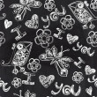 Chalkboard seamless valentine pattern. Copy that square to the side,you'll get seamlessly tiling pattern which gives the resulting image the ability to be repeated or tiled without visible seams. — Стоковая фотография