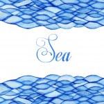 Watercolor waves, sea theme, blue maritime frame — Stock Photo #25865879