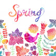 Watercolor floral greeting card with Spring lettering — Stockfoto