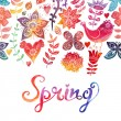 Watercolor floral greeting card with Spring lettering — Stock Photo