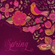 Floral background, spring theme, greeting card. Template design — ストック写真