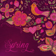 图库照片: Floral background, spring theme, greeting card. Template design