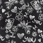 Chalkboard seamless valentine pattern. Copy that square to the side,you'll get seamlessly tiling pattern which gives the resulting image the ability to be repeated or tiled without visible seams. — Photo