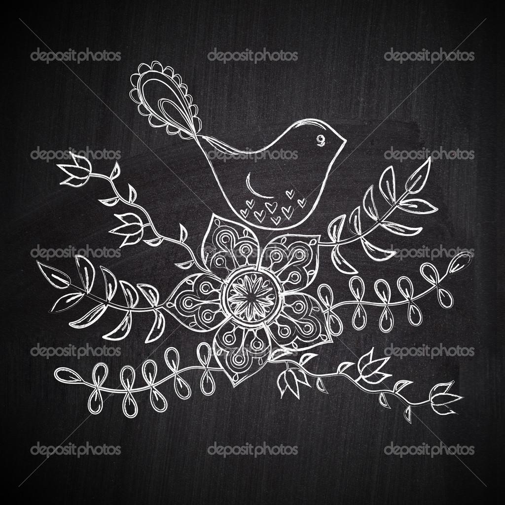 carte de voeux dessin craie avec oiseau sur tableau noir ardoise photographie markovka 25865705. Black Bedroom Furniture Sets. Home Design Ideas