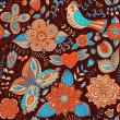 Seamless texture with flowers, birds and butterflies. Seamless pattern can be used for wallpaper, pattern fills, web page background,surface textures. Gorgeous seamless floral background — Stock Vector #25894333