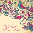 Stok Vektör: Floral background, spring theme, greeting card. Template design