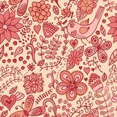Textura sin fisuras con flores, pájaros y mariposas. p inconsútil — Vector de stock