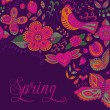 Spring coming card. Floral background, spring theme, greeting ca — Stockvectorbeeld