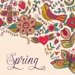Spring coming card. Floral background, spring theme, greeting ca — ストックベクタ
