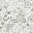 Romantic doodle floral texture. Copy that square to the side and — 图库矢量图片