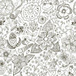 Romantic doodle floral texture. Copy that square to the side and — Imagens vectoriais em stock