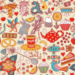 Tea,sweets seamless doodle pattern. Copy that square to the side — Stock Vector