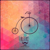Retro bicycle on hipster background made of triangles with grung — Stock Vector