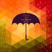 Retro umbrella symbol on hipster background made of triangles Retro background with rain pattern and geometric shapes.Label design. Square composition with geometric shapes, color flow effect. — ストックベクタ