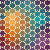 Background of repeating geometric stars. Spectrum geometric background. Retro hipster color spectrum background. Square composition with geometric color flow effect. — Stock Vector