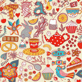 Tea,sweets seamless doodle pattern. Copy that square to the side — Vetor de Stock