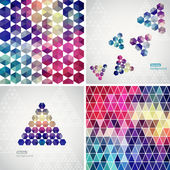 Retro pattern of geometric shapes. Colorful mosaic banners. Geometric hipster retro background with place for your text. Retro triangle background. Set of four geometric templates. — Stock Vector
