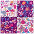 Set of eight colorful floral vector pattern — Vettoriali Stock