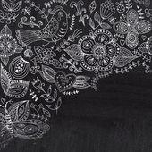 Chalk flowers on chalkboard blackboard. Floral greeting card — Stock Photo