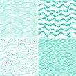 Set of four seamless abstract hand-drawn pattern, waves background. Each square pattern has the ability to be repeated or tiled without visible seams. — Stockvectorbeeld