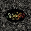 """Summer"" vector watercolor lettering. Hand drawn watercolor background,vector illustration. Composition for scrapbook with empty space for text message. Seamless pattern on the back is complete. Label — Vecteur"