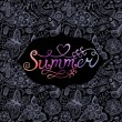 """Summer"" vector watercolor lettering. Hand drawn watercolor background,vector illustration. Composition for scrapbook with empty space for text message. Seamless pattern on the back is complete. Label — Stock vektor"