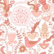 Colorful floral seamless pattern in cartoon style. Seamless pattern can be used for wallpaper, pattern fills, web page background,surface textures. Gorgeous seamless floral background — Stock Vector #26993781