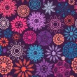 Floral seamless pattern with flowers. Copy square to the side and you'll get seamlessly tiling pattern which gives the resulting image ability to be repeated or tiled without visible seams. — Stockvectorbeeld