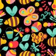 Vector seamless floral pattern. Summer composition with honeycomb, bees, flowers. Use it as pattern fills, web page background, surface textures, fabric or paper, backdrop design. Summer template. — ベクター素材ストック
