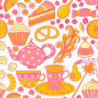 Tea vector seamless doodle teatime backdrop.Cakes to celebrate any event or occasion, use it as pattern fills, web page background, surface textures, fabric or paper, backdrop design. Summer template. — ベクター素材ストック