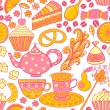 Tea vector seamless doodle teatime backdrop.Cakes to celebrate any event or occasion, use it as pattern fills, web page background, surface textures, fabric or paper, backdrop design. Summer template. — Imagens vectoriais em stock