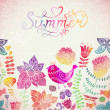 """Vector watercolor floral greeting card with """"Summer"""" lettering. Vintage retro background with floral ornament You can design cards, notebook cover and so on. Spring theme background. — Stock Vector #26993965"""